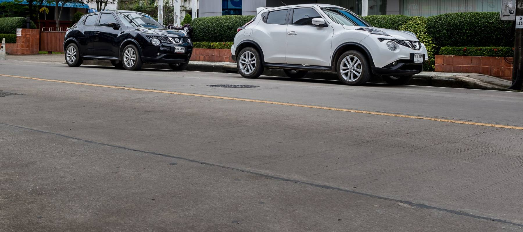 ChiangRai THAILAND-September:9:2017:The Nissan Juke black & white is a Mini Sport Utility Vehicle