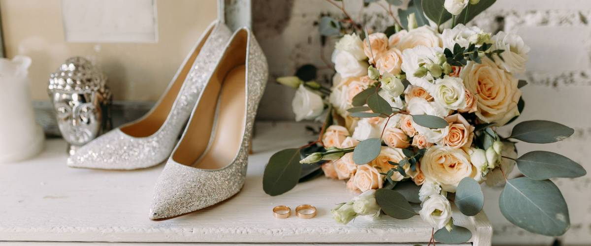 The only way to see wedding shoes is to take them off