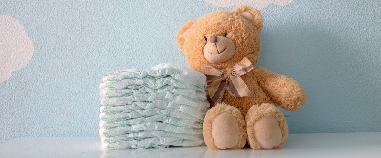 Teddy bear and diapers