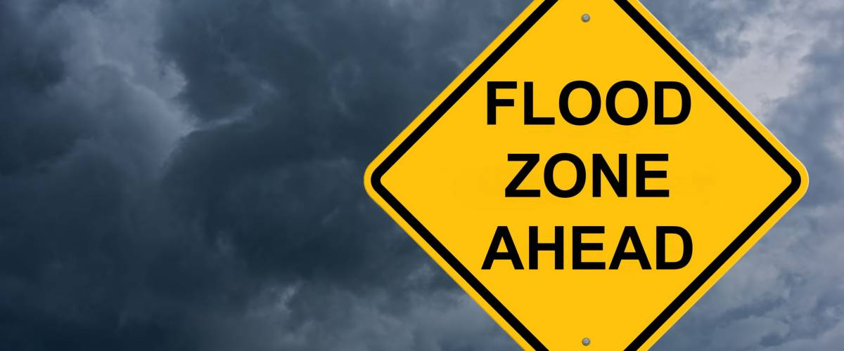 Flood Zone Ahead Caution Sign