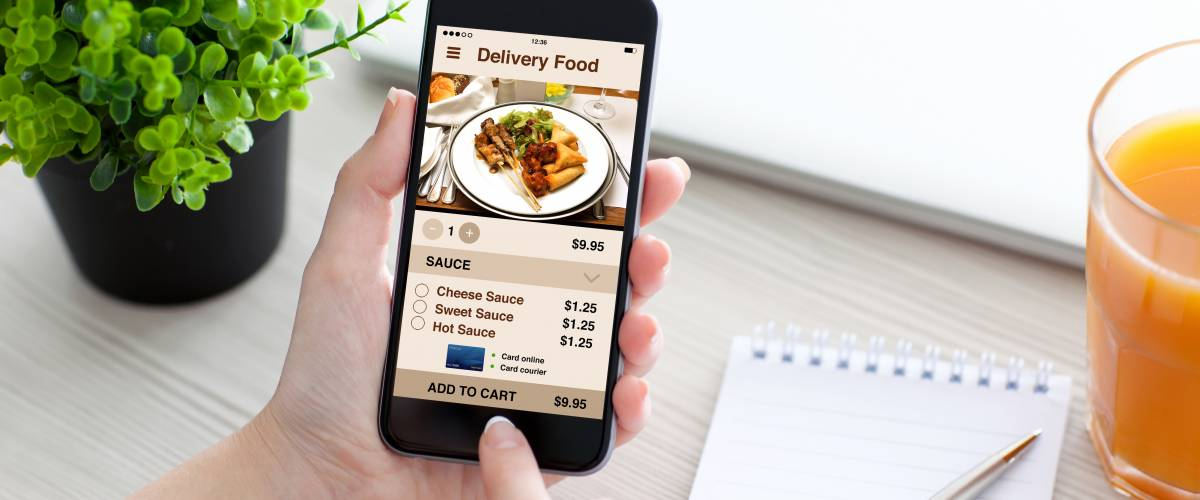 delivery food app on a mobile phone