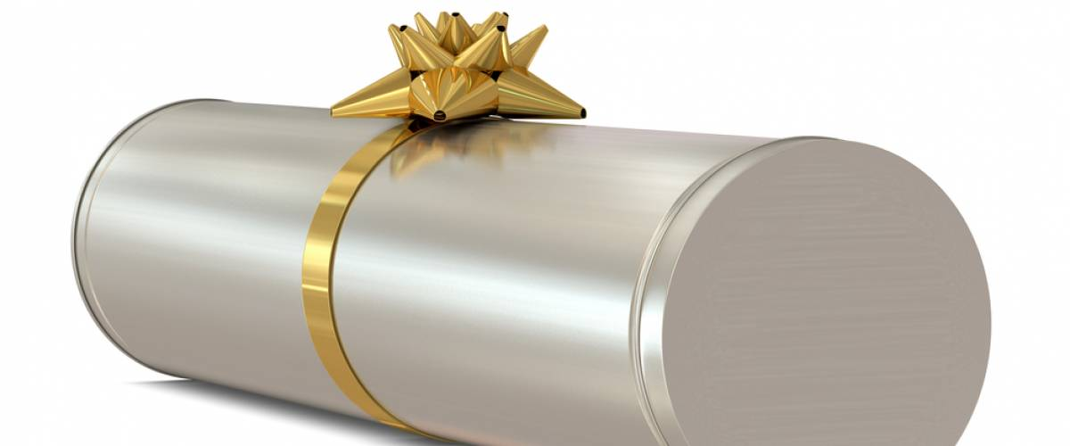 Cylindrical gift with bow