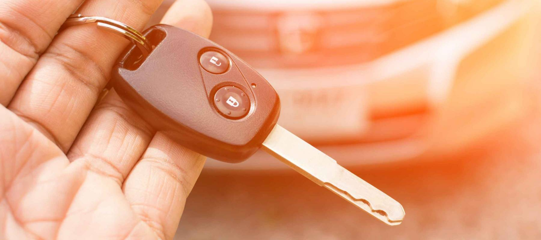 Car key in hand and color tone effect